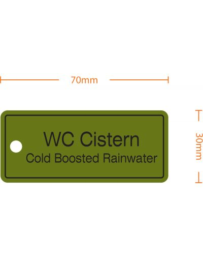 "Rainwater Harvesting Labels ""WC Cistern, Cold Booster Rainwater"" Tie-on-Tag - Pack of 10"