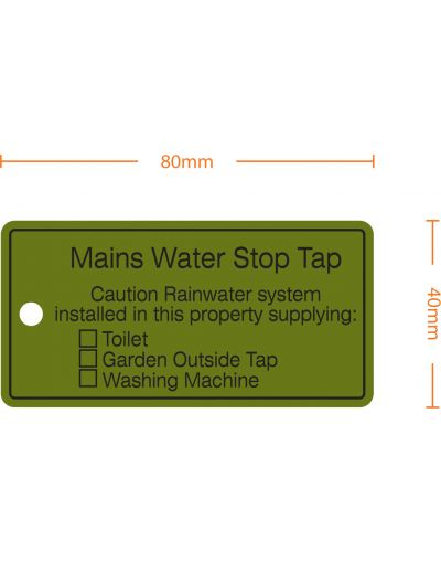 "Rainwater Harvesting Labels ""Mains Water Stop Tap"" Tie-on-Tag - Pack of 10"