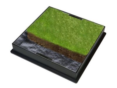 450mm GrassTop Manhole Cover for Gardens w/ 80mm Recessed Tray