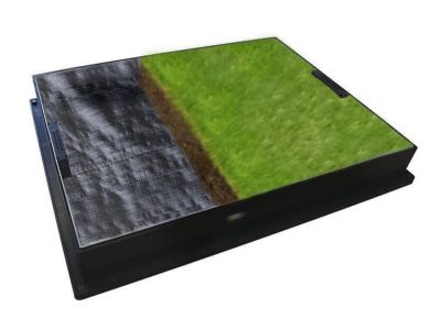 600 x 450mm GrassTop Manhole Cover for Gardens w/ 80mm Recessed Tray