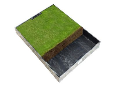 600 x 450mm GrassTop Manhole Cover for Gardens w/ 80mm Recessed Tray Completely Galvanised