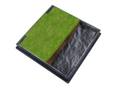 600 x 600mm GrassTop Manhole Cover for Gardens w/ 80mm Recessed Tray