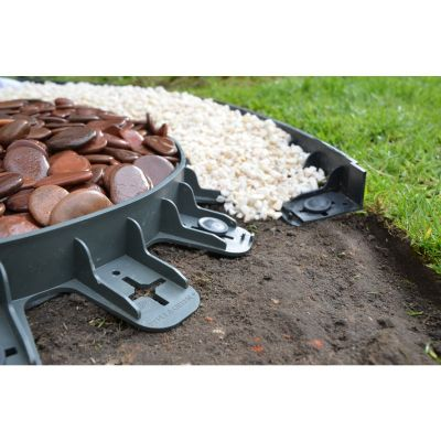 Lawn and border garden edging 60mm deep in black. 4 units with 16 pins (3 metres). Delivered price