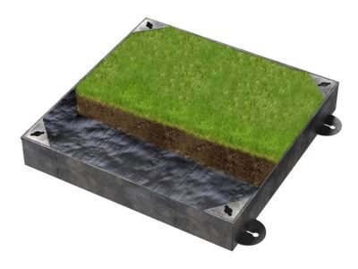 600 x 600mm GrassTop Manhole Cover for Gardens w/ 100mm Recessed Tray