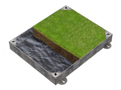 750 x 600mm GrassTop Manhole Cover for Gardens w/ 100mm Recessed Tray