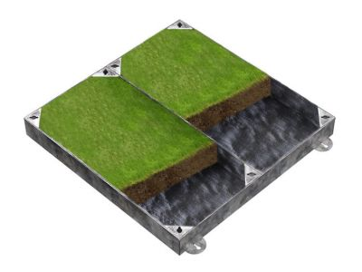 900 x 900mm GrassTop Manhole Cover for Gardens w/ 100mm Recessed Tray