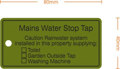 """Rainwater Harvesting Labels """"Mains Water Stop Tap"""" Tie-on-Tag - Pack of 10"""