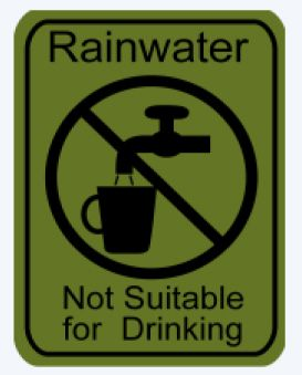 """Rainwater Harvesting Labels """"Not Suitable for Drinking"""" Adhesive Label - Pack of 10"""